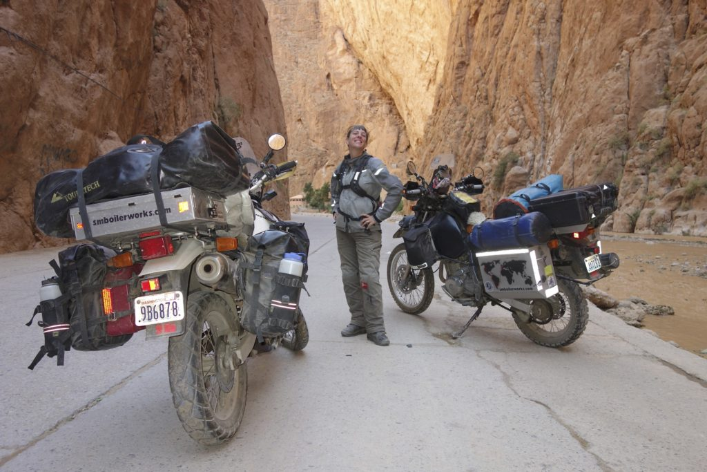 In places, the Todra Gorge measures just 33 feet across, but the cliffs are more than 500 feet tall on either side. We made sure to camp nearby so we could ride through in the morning, the best time to see the sun light up the walls of the gorge.