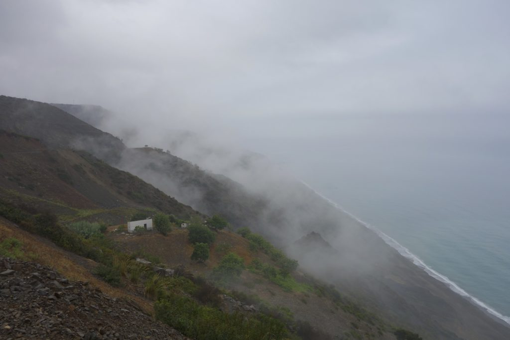 Week after week of scorching sun and high temperatures had us believing it never rained in Morocco. The morning we rode the supposedly stunning coastal highway along the Mediterranean we got soaked and the fog and mist hid the spectacular views.