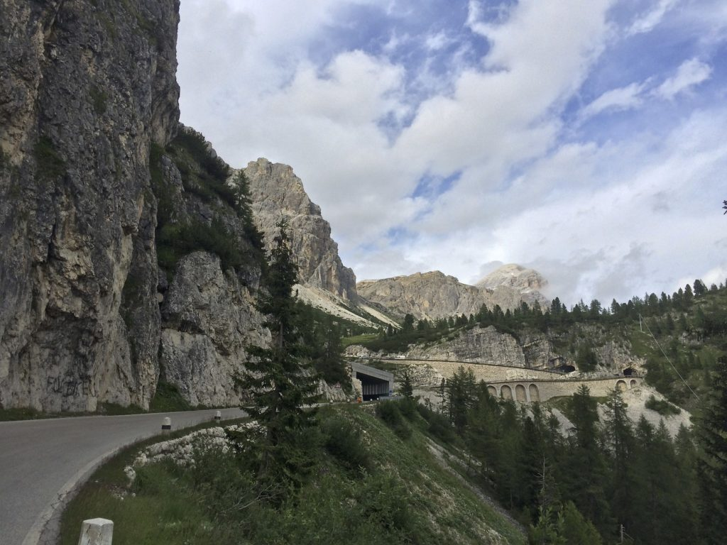 By the time we reached the Italian Dolomites we had lost count of the mountain passes we have crossed since entering the Alps. Here is a parting shot, a classic example of what riding in the Alps is all about.
