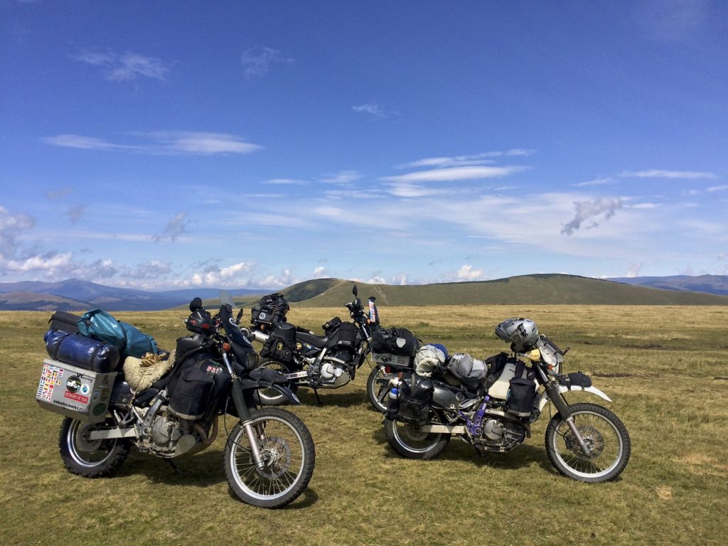 Our friend Clinton is riding in Eastern Europe as well. We met up with him and will ride together as far as Istanbul before he heads back to Europe and we make our way to Nepal. Three Suzuki DR650&#039s cause quite a stir in these parts, as they should. Transalpina, Romania.