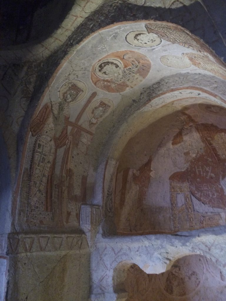 Frescos from the 4th century AD are still magnificent in this underground sanctuary. Göreme, Turkey.