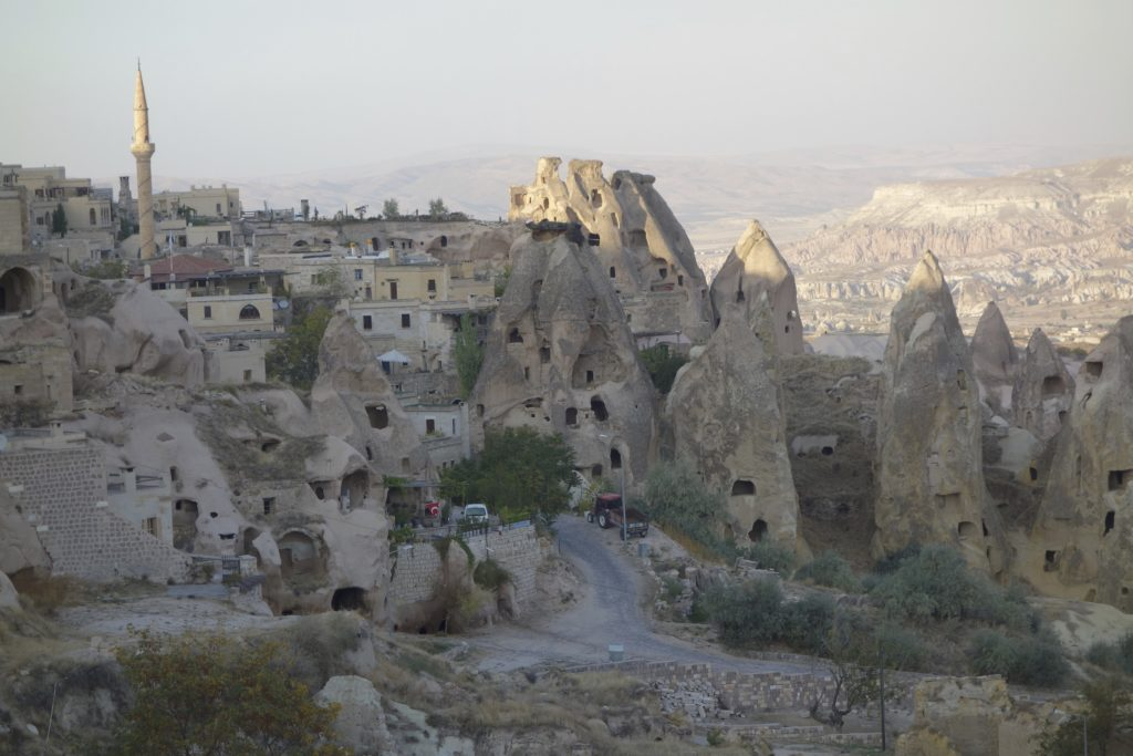 A good example of just how hollowed out the hills of Cappadocia really are.