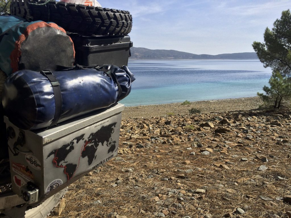 Breaking camp on Lake Salda. We found a great deal on tires in Bulgaria and have been lugging them around ever since. We will finish our tour of Turkey on the old tires and put the new ones on a day or two before crating the bikes for Nepal.