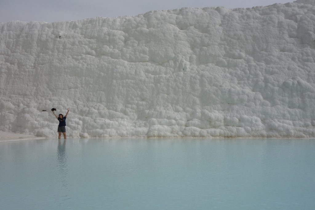 Mineral rich water flows down a hillside in Pamukkale, Turkey. The resulting deposits are called travertine and look more like Antarctic ice sheets than warm stone.