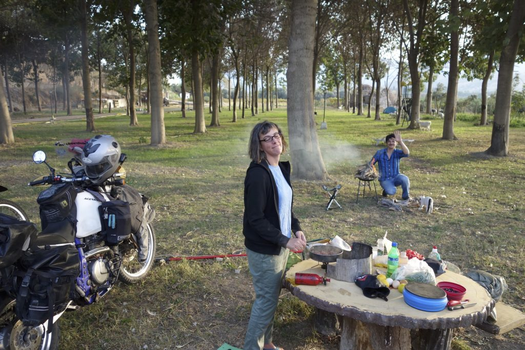 Our campsite near Ephesus was nearly deserted due to falling on hard times. The camp host befriended us and insisted on making us a meal. He made us a monumental Turkish feast that lasted for 5 hours. Turks like to eat slow, talk, drink some tea, and talk some more. It was a lovely evening.