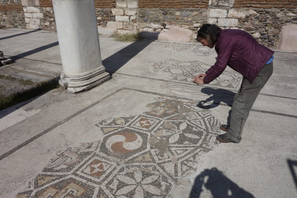 The geometric mosaic floor in the synagogue. Sardes Ruins, Turkey